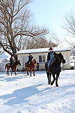 USA, Utah, MidwayUSA, Utah, Midway, tourists from LA take a winter horseback ride with Rocky Mountain Outfitters