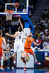 Real Madrid's player Felipe Reyes and Valencia Basket's Fernando San Emeterio during the first match of the Semi Finals of Liga Endesa Playoff at Barclaycard Center in Madrid. June 02. 2016. (ALTERPHOTOS/Borja B.Hojas)