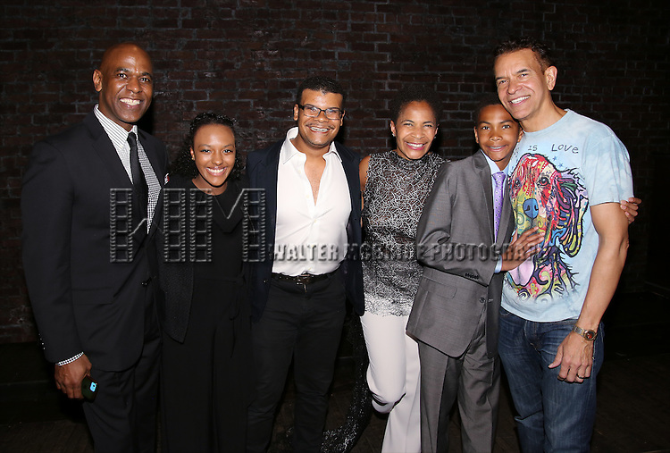 Allyson Stokes Mitchell, Ellington Stokes Mitchell and Brian Stokes Mitchell with family during the Actors' Equity Opening Night Gypsy Robe Ceremony honoring Arbender Robinson for 'Shuffle Along' at The Music Box Theatre on April 28, 2016 in New York City.