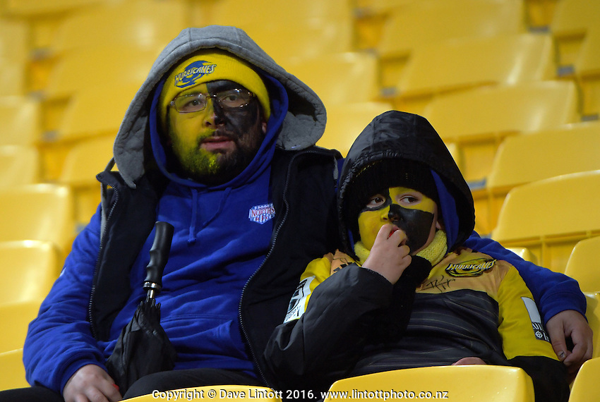Fans arrive for during the Super Rugby final match between the Hurricanes and Lions at Westpac Stadium, Wellington, New Zealand on Saturday, 6 August 2016. Photo: Dave Lintott / lintottphoto.co.nz