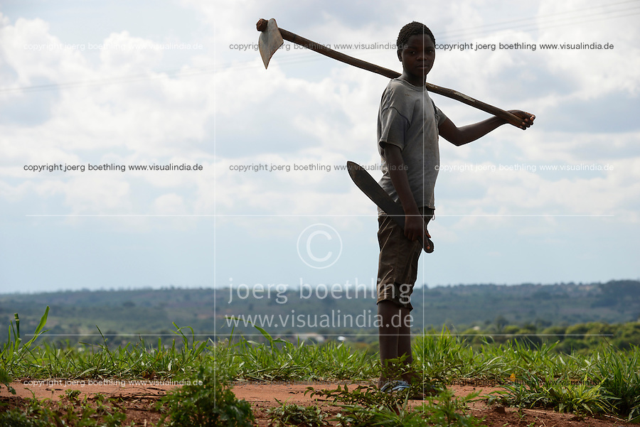 MOZAMBIQUE, Gondolo, BAGC Beira agricultural growth corridor, small scale farmer with hoe / MOSAMBIK, Gondolo, BAGC Beira agricultural growth corridor, Kleinbauer mit Hacke