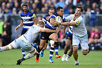 Kahn Fotuali'i of Bath Rugby takes on the Saracens defence. Aviva Premiership match, between Bath Rugby and Saracens on September 9, 2017 at the Recreation Ground in Bath, England. Photo by: Patrick Khachfe / Onside Images