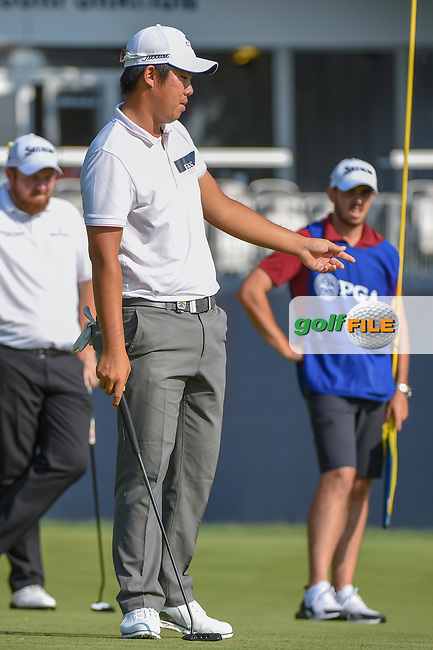 Byeong Hun An (KOR) watches his putt on 9 during 2nd round of the 100th PGA Championship at Bellerive Country Club, St. Louis, Missouri. 8/11/2018.<br /> Picture: Golffile | Ken Murray<br /> <br /> All photo usage must carry mandatory copyright credit (© Golffile | Ken Murray)