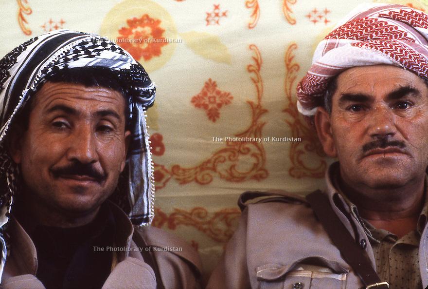Iran 1979.Portrait of two peshmerga in Ziweh; right, Aref Yassin