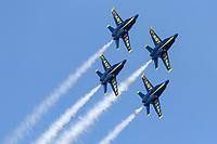 Blue Angels F-18 Hornets in diamond formation during a 2019 San Francisco Fleet Week flight demonstration.