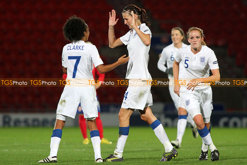 Jess Clarke scores the first goal for England and celebrates with Jill Scott - England Women vs Serbia Ladies - UEFA Euro 2013 Group 6 Qualifier at Keepmoat Stadium, Doncaster Rovers FC - 23/11/11 - MANDATORY CREDIT: Gavin Ellis/TGSPHOTO - Self billing applies where appropriate - 0845 094 6026 - contact@tgsphoto.co.uk - NO UNPAID USE.