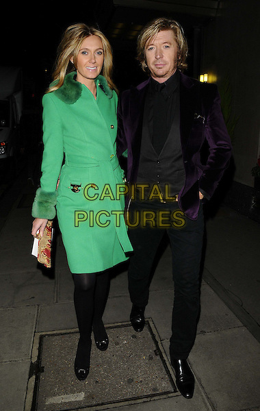 Kelly Simpkin &amp; Nicky Clarke<br /> attended the &quot;Joan Collins: Passion for Life&quot; book launch party, The Westbury Hotel, London, England.<br /> October 21st, 2013<br /> full length green jacket coat mac purple velvet suit black trousers waistcoat shirt couple <br /> CAP/CAN<br /> &copy;Can Nguyen/Capital Pictures