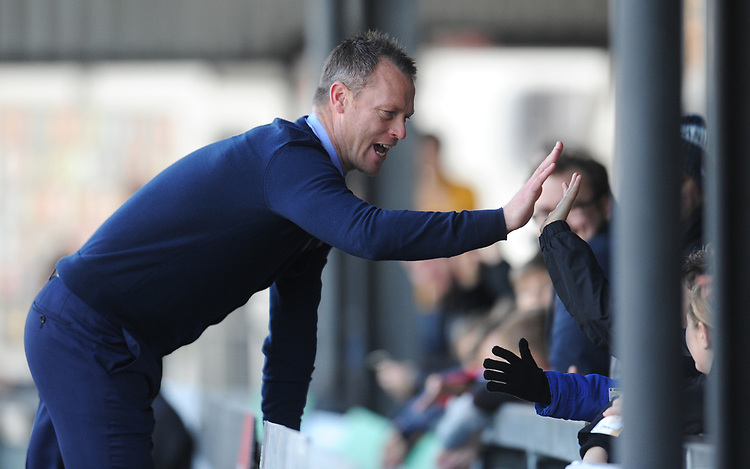 Newport County manager Michael Flynn high fives fans before kickoff<br /> <br /> Photographer Kevin Barnes/CameraSport<br /> <br /> The EFL Sky Bet League Two - Newport County v Colchester United - Saturday 17th November 2018 - Rodney Parade - Newport<br /> <br /> World Copyright © 2018 CameraSport. All rights reserved. 43 Linden Ave. Countesthorpe. Leicester. England. LE8 5PG - Tel: +44 (0) 116 277 4147 - admin@camerasport.com - www.camerasport.com