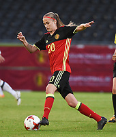 20170613 - LEUVEN ,  BELGIUM : Belgian Julie Biesmans pictured during the female soccer game between the Belgian Red Flames and Japan , a friendly game before the European Championship in The Netherlands 2017  , Tuesday 13 th Juin 2017 at Stadion Den Dreef  in Leuven , Belgium. PHOTO SPORTPIX.BE | DIRK VUYLSTEKE