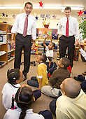 Chicago, IL - December 16, 2008 -- United States President-elect Barack Obama and newly nominated Secretary of Education former Chicago School Chief Arne Duncan speak to first to fourth graders at Dodge Renaissance Academy on Chicago's West Side..Credit: Ralf-Finn Hestoft - Pool via CNP