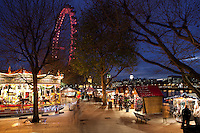Great Britain, London: London Cologne Christmas Market on the Southbank with the London Eye and Big Ben in background