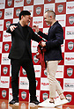 May 24, 2018, Tokyo, Japan - Spanish midfielder Andres Iniesta of former FC Barcelona hugs with Japan's online commerce giant Rakuten president Hiroshi Mikitani (L) as he joins Vissel Kobe of Japan's professional football league J-League in Tokyo on Thursday, May 24, 2018. Vissel Kobe is owned by Mikitani's Rakuten and Rakuten is now uniform sponsor of FC Barcelona.   (Photo by Yoshio Tsunoda/AFLO) LWX -ytd-