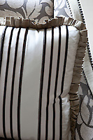 Detail of a striped silk cushion
