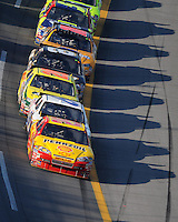 Oct 5, 2008; Talladega, AL, USA; NASCAR Sprint Cup Series driver Kevin Harvick (29) leads the field during the Amp Energy 500 at the Talladega Superspeedway. Mandatory Credit: Mark J. Rebilas-