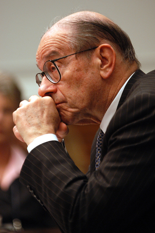 green4/043003 -  Federal Reserve chairman Alan Greenspan testifying at the House Financial Services Committee hearing on U.S. monetary and economic policy..