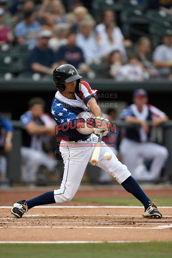 Center fielder Jacob Zanon (21) of the Columbia Fireflies bats in a game against the Rome Braves on Monday, July 3, 2017, at Spirit Communications Park in Columbia, South Carolina. Columbia won, 1-0. (Tom Priddy/Four Seam Images)