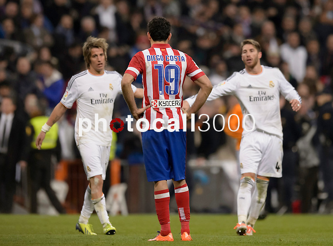 Atletico Madrid's Brazilian forward Diego da Silva Costa after the Spanish Copa del Rey (King's Cup) semifinal first-leg football match Real Madrid CF vs Club Atletico de Madrid at the Santiago Bernabeu stadium in Madrid on February 5, 2014.   PHOTOCALL3000/ DP