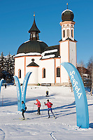 Austria, Tyrol, international Wintersport Resort Seefeld: Start and Finish of Cross-Country ski run at church Seekirchl