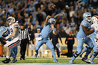 CHAPEL HILL, NC - NOVEMBER 02: Sam Howell #7 of the University of North Carolina throws the ball during a game between University of Virginia and University of North Carolina at Kenan Memorial Stadium on November 02, 2019 in Chapel Hill, North Carolina.