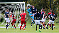 Huddersfield Town goalkeeper, Luke Coddington, makes a fine save during Millwall Under-23 vs Huddersfield Town Under-23, Professional Development League Football at Millwall Training Ground on 14th August 2017