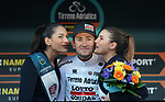 Tiesj Benoot (BEL) Lotto-Soudal retains the Maglia Bianca at the end of Stage 6 of the 53rd edition of the Tirreno-Adriatico 2018 running 153km from Numana to Fano, Italy. 12th March 2018.<br /> Picture: LaPresse/Spada | Cyclefile<br /> <br /> <br /> All photos usage must carry mandatory copyright credit (&copy; Cyclefile | LaPresse/Spada)