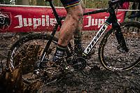 mudsplash by CX World Champion Wout Van Aert (BEL/Cibel-Cebon)<br /> <br /> Men's race<br /> Superprestige Asper-Gavere 2018 (BEL)