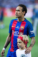 Neymar Santos Jr of FC Barcelona and his soon during the match of  Copa del Rey (King's Cup) Final between Deportivo Alaves and FC Barcelona at Vicente Calderon Stadium in Madrid, May 27, 2017. Spain.. (ALTERPHOTOS/Rodrigo Jimenez) /NortePhoto.com