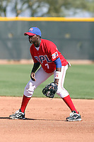 Ronniel Demorizi #7 of the Dominican Prospect League All-stars plays against the Langley (British Columbia) Blaze in an exhibition game at Surprise Recreational Complex, the Texas Rangers minor league complex, on March 22, 2011 in Surprise, Arizona..Photo by:  Bill Mitchell/Four Seam Images