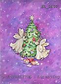 Interlitho, Theresa, CHRISTMAS CHILDREN, paintings, tree, 2 angels, gifts, KL5865,#XK# Engel, angeles