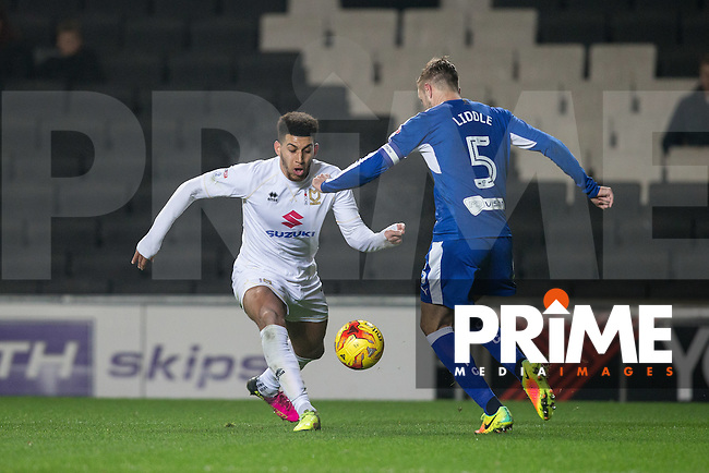 Daniel Powell of Milton Keynes Dons in action during the Sky Bet League 1 match between MK Dons and Chesterfield at stadium:mk, Milton Keynes, England on 22 November 2016. Photo by Andy Rowland.