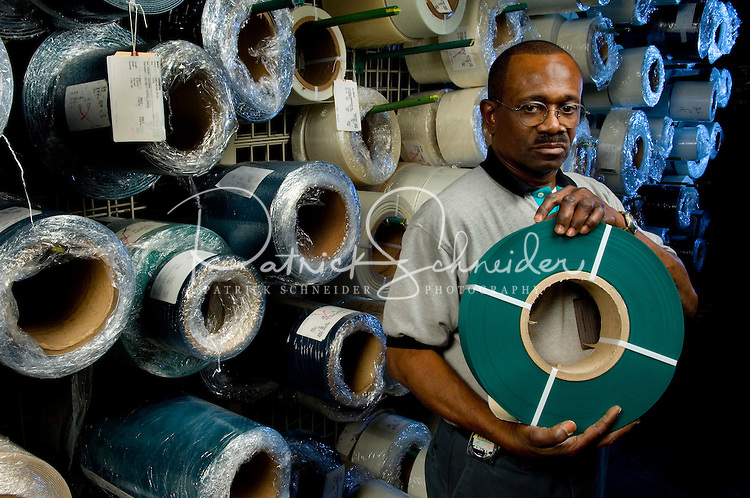 A worker at Siegling America, in Huntersville,  NC. Siegling America is a worldwide leader in belting technology.