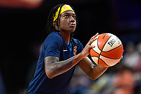 Washington, DC - Aug 8, 2019: 2019 All-Star MVP Indiana Fever guard Erica Wheeler (17) warms up before game between the Indiana Fever and the Washington Mystics at the Entertainment & Sports Arena in Washington, DC. (Photo by Phil Peters/Media Images International)