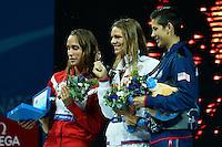 200 breaststroke women<br /> PEDERSEN Rikke Moller, Denmark DEN, silver medal<br /> EFIMOVA Yuliya, Russia RUS, gold medal<br /> LAWRENCE  Micah, Great Britain, GBR <br /> Swimming - Nuoto <br /> Barcellona 2/8/2013 Palau St Jordi <br /> Barcelona 2013 15 Fina World Championships Aquatics <br /> Foto Andrea Staccioli Insidefoto