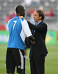 19 May 2007: Colorado head coach Fernando Clavijo (URU) (r) and Kansas City's Eddie Johnson (7) before the game. The Colorado Rapids and the Kansas City Wizards played to a 1-1 tie at Dick's Sporting Goods Park in Commerce City, Colorado in a Major League Soccer 2007 regular season game.