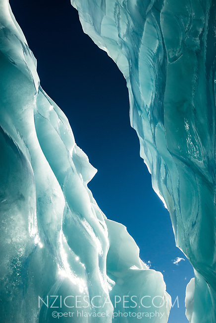 Amazing colours and shapes of blue ice on Franz Josef Glacier, Westland Tai Poutini National Park, West Coast, UNESCO World Heritage Area, New Zealand, NZ