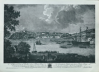 View of Quebec City from Point Levy, with embarking troops, engraving by P Canot after a drawing by Richard Short, published in 1761 as a collection of Views of Quebec in the 18th century, by Thomas Jefferys in London, in the collection of the Archives du Seminaire de Quebec, Quebec City, Quebec, Canada. This print is dedicated to the Honourable Sir Charles Saunders, Vice Admiral of the Blues and Knight of the most Honourable Order of the Bath. Picture by Manuel Cohen
