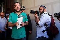 Matteo Salvini esce dal Ministero<br /> Roma 11-05-2015 Matteo Salvini si reca al Ministero dell'Economia per chiedere la restituzione delle pensioni.<br /> Protest of Matteo Salvini to ask the restriction of the old age pensions.<br /> Photo Samantha Zucchi Insidefoto