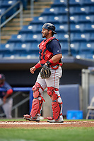 Lowell Spinners catcher Alberto Schmidt (20) during a game against the Staten Island Yankees on August 22, 2018 at Richmond County Bank Ballpark in Staten Island, New York.  Staten Island defeated Lowell 10-4.  (Mike Janes/Four Seam Images)
