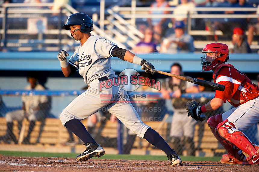 Staten Island Yankees infielder Jose Rosarios #31 bats in front of catcher Adam Lewis during a game against the Batavia Muckdogs at Dwyer Stadium on July 30, 2012 in Batavia, New York.  Batavia defeated Staten Island 5-4 in 11 innings.  (Mike Janes/Four Seam Images)