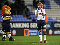 Bolton Wanderers' Luca Connell applauds his side's supporters at the end of the match <br /> <br /> Photographer Andrew Kearns/CameraSport<br /> <br /> The EFL Sky Bet Championship - Bolton Wanderers v Sheffield Wednesday - Tuesday 12th March 2019 - University of Bolton Stadium - Bolton<br /> <br /> World Copyright © 2019 CameraSport. All rights reserved. 43 Linden Ave. Countesthorpe. Leicester. England. LE8 5PG - Tel: +44 (0) 116 277 4147 - admin@camerasport.com - www.camerasport.com