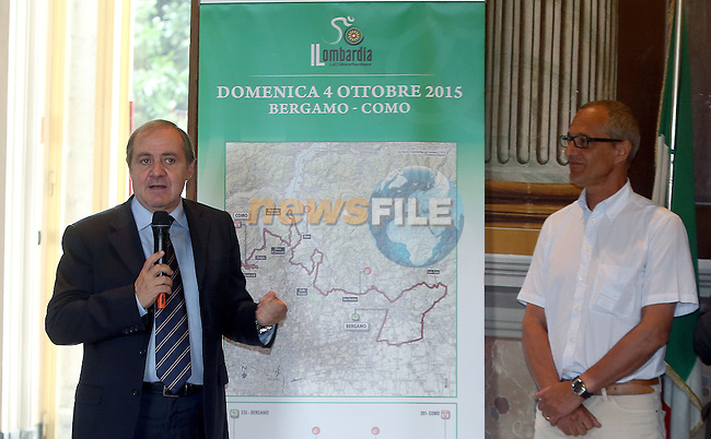 Mauro Vegni and the Mayor of Como, Mario Lucini at the Tour of Lombardy 2015 Presentation, Como, Italy. 10th September 2015.<br />