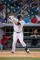 Jason Coats (17) of the Charlotte Knights at bat against the Indianapolis Indians at BB&T BallPark on June 20, 2015 in Charlotte, North Carolina.  The Knights defeated the Indians 6-5 in 12 innings.  (Brian Westerholt/Four Seam Images)