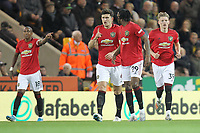 Manchester United celebrate after Scott McTominay (R) scored to make it 1-0 during the Premier League match between Norwich City and Manchester United at Carrow Road on October 27th 2019 in Norwich, England. (Photo by Matt Bradshaw/phcimages.com)<br /> Foto PHC/Insidefoto <br /> ITALY ONLY