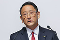 Toyota Motor Corporation President Akio Toyoda speaks during a news conference at the Royal Park Hotel Tokyo on August 4, 2017, Tokyo, Japan. Toyoda and Mazda Motor Corporation President and CEO Masamichi Kogai announced an alliance between the car makers; whereby they will invest in each other and plan to build a joint auto factory in the U.S. and cooperate in new technologies for electric vehicles. (Photo by Rodrigo Reyes Marin/AFLO)