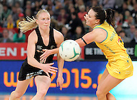 Camilla Leesa and Laura Langman and Australia's Natalie Von Bertouch in action during the first netball test match between the Silver Ferns and the Australian Diamonds played at the Hisense Arena In Melbourne. Mandatory Photo Credit ©Michael Bradley.