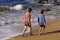 ON03-011z  Ocean - boys walking in surf, waves breaking