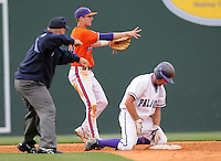 May 11, 2009: Shortstop Brad Miller (13) of the Clemson Tigers tags out Reese Wade (21) of the Furman Paladins in a game at Fluor Field at the West End in Greenville, S.C. Photo by: Tom Priddy/Four Seam Images