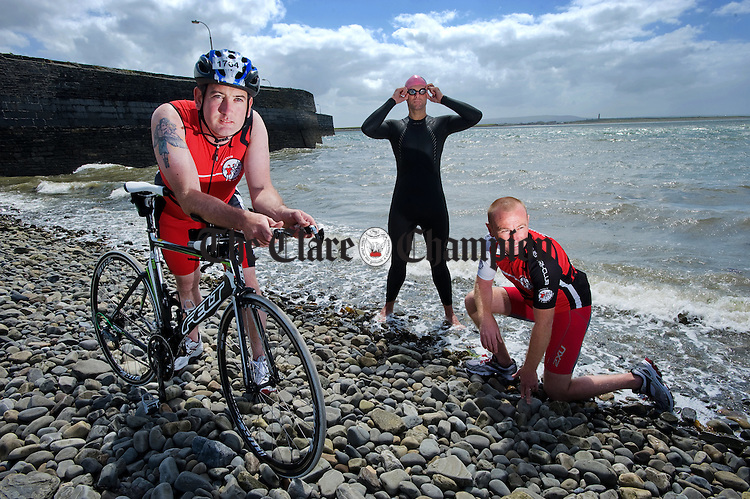 Ian Lynch, Cillian Murphy and Jason Hanrahan, three of the local participants who are in preparation for this years Hell Of The West Triathlon at Kilkee, on June 25th. Photograph by John Kelly.
