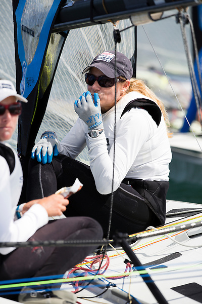 SANTANDER, SPAIN - SEPTEMBER 14:  49erFX - USA121 - Genny Tulloch / Kathleen Tocke in action during Day 4 of the 2014 ISAF Sailing World Championships on September 15, 2014 in Santander, Spain.  (Photo by MickAnderson/SAILINGPIX via Getty Images)