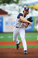 Brooklyn Cyclones pitcher John Gant (28) during game against the Hudson Valley Renegades at MCU Park on July 28, 2013 in Brooklyn, NY.  Brooklyn defeated Hudson Valley 4-2.  Tomasso DeRosa/Four Seam Images